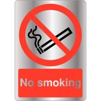 Brushed Metal-Look Acrylic No Smoking Sign