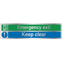 Deluxe Emergency Exit - Keep Clear Warning Signs