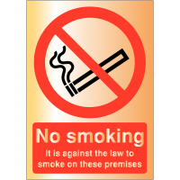 Sophisticated 'No smoking/It is against the law to smoke' metal-look signs
