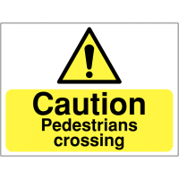 Temporary 'Caution Pedestrians Crossing' Construction Sign