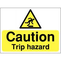 Caution: trip hazard sign with graphic