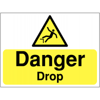 'Danger Drop' Hazard Construction Safety Sign