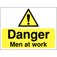 Men working warning safety signs