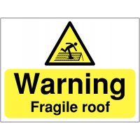 Fragile roof' site warning sign in durable materials