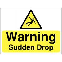 Sign warning of dangerous sudden drops