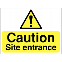 Highly-Visible 'Caution – Site Entrance' Site Entrance Sign with Hazard Symbol