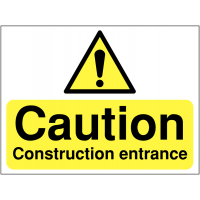 Durable Construction Site Entrance Warning Sign
