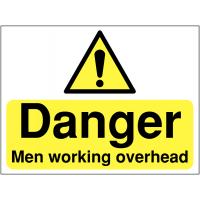 'Danger Men Working Overhead' Construction Safety Sign