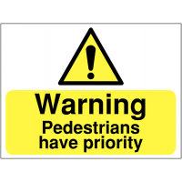'Warning: pedestrians have priority' signs for building sites