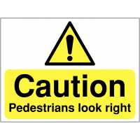 Temporary 'Caution: Pedestrians Look Right' Construction Sign