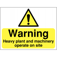 Warning heavy plant and machinery operate on site safety signs