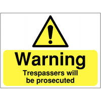 Trespassers will be prosecuted' warning signs for sites