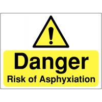 Clear asphyxiation danger signage