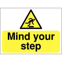 Signs alerting people to watch their step
