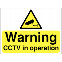 Warning: CCTV in operation' construction signage