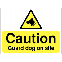 Mountable, high-gloss caution guard dog on site construction sign