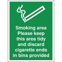 Smoking Area Please Discard Cigarette Ends Building & Construction Site Signs