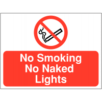 'No Smoking, No Naked Lights' Site Sign in Durable Materials