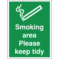 Temporary 'smoking area please keep tidy' construction sign