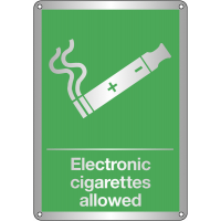 Stylish 'Electronic Cigarettes Allowed' Sign in Metal or Plastic