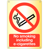 No Smoking Including E-Cigarettes' Sign in Metal or Plastic