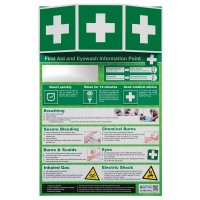 Prominent first aid and eyewash information point