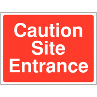 'Caution Site Entrance' Construction Site Temporary Traffic Signs