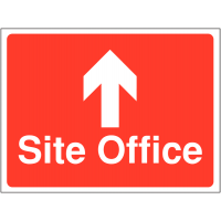 Hard-wearing 'site office' construction sign with up arrow