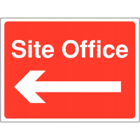 Direction signs to site office with left-facing arrow