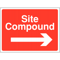 Site compound direction signs with right-facing arrow