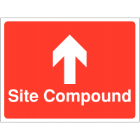Direction signs stating site compound with upward-facing arrow