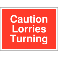 Temporary 'Caution Lorries Turning' Construction Sign