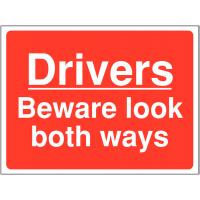 Look both ways sign warning drivers