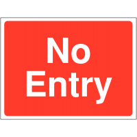 Bold no entry sign for construction sites
