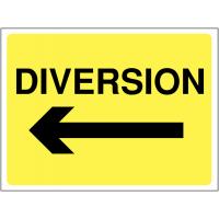 Temporary 'Diversion Arrow Left' Construction Sign