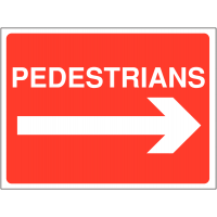 Construction site sign with word 'pedestrians' and right arrow graphic