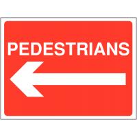 Pedestrians/arrow left building site temporary sign