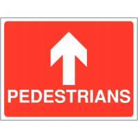 Durable pedestrian route site sign with upwards facing arrow
