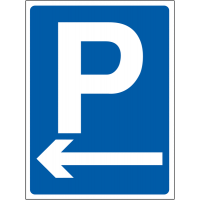 Car parking outdoor site sign with left arrow