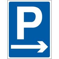 Temporary 'parking arrow right' construction sign