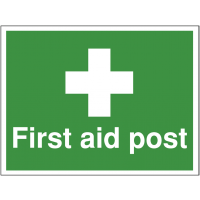 Highly visible first aid construction signs