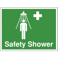 Sign with words and graphic indicating safety shower point