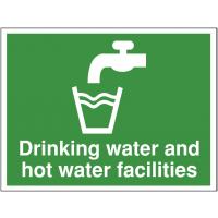 Self-adhesive 'Drinking water and hot water facilities' sign