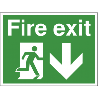 Temporary fire exit construction sign with down arrow