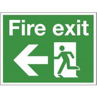 Flexible 'Fire exit' arrow left construction sign