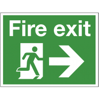 Durable fire exit construction site sign with right arrow
