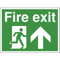 Durable construction site fire exit sign with up arrow