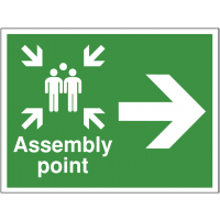 Construction Site Assembly Point Sign with Right Arrow