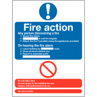 Fire action information sign