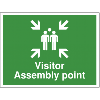 Highly visible 'visitor assembly point' construction site sign